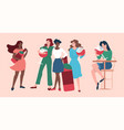 wine concept with group women friends vector image