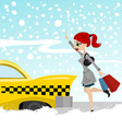 Woman catches a taxi vector image
