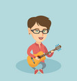 young caucasian woman playing the acoustic guitar vector image vector image
