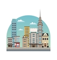 city downtown buildings style vector image