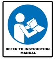 Refer to instruction manual booklet vector image