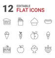 12 delicious icons vector image vector image