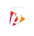 abstract letter p with play icon logo design vector image vector image