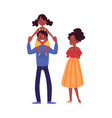 african-american family standing with daughter on vector image vector image