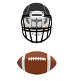 American football ball and helmet vector image vector image