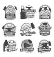 blacksmith profession icons isolated set vector image vector image