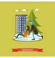 boy and girl sledding in vector image vector image