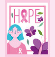 breast cancer awareness month young woman ribbon vector image vector image