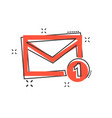 cartoon mail envelope message icon in comic style vector image