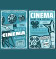 cinematography cinema retro movie festival vector image