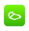 cloud sun icon green vector image vector image