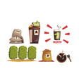 coffee production stages collection harvesting vector image vector image
