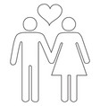 couple in love holding hands black stroke linear vector image