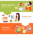 diabetes symptoms 3 flat banners set vector image vector image