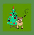 flat shading style icon christmas tree deer vector image