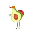 funny avocado standing with backpack emotional vector image vector image
