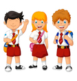 funny three student cartoon vector image vector image