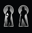 girl and keyhole silhouette vector image vector image