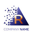 golden letter r logo symbol in blue pixel triangle vector image
