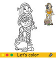 halloween coloring with colored example cute mummy vector image