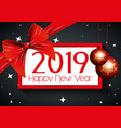 happy new year emblem with ribbon bow vector image vector image
