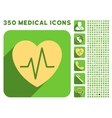 Heart Ekg Icon and Medical Longshadow Icon Set vector image vector image