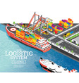 isometric sea port with container ship gantry vector image vector image