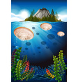 Jellyfish swimming under the sea vector image vector image