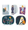 loneliness characters stressed depressed people vector image