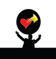 man with heart vector image vector image