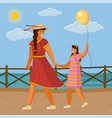 mom in red dress leads her daughter hand the vector image