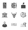 Money and finance set icons in monochrome style vector image vector image