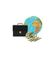 money globe and case vector image vector image