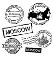 moscow postal stamps vector image vector image