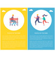 people in park poster boy on bench runners jogging vector image
