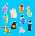 perfume bottles stickers set vector image