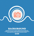 Photo Camera sign icon Blue and white abstract vector image