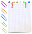 sheet paper with paper clips vector image