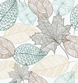 Sketch style leaves seamless pattern background vector image vector image