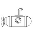 small submarine icon outline style vector image vector image