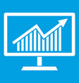 statistics on monitor icon white vector image vector image