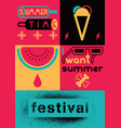 summer festival colorful vivid poster design vector image