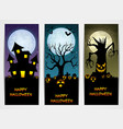 three halloween banners with castle and pumpkin an vector image