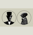 two portraits men in retro suit vector image