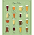 types beer line icons vector image vector image