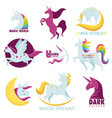 unicorn magic horse rainbow icons vector image vector image
