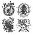vintage monochrome barbershop labels vector image