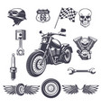 vintage motorcycle elements collection vector image vector image