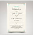 wedding invitation in retro vintage style vector image vector image