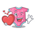 with heart cartoon baby clothes for the newborn vector image